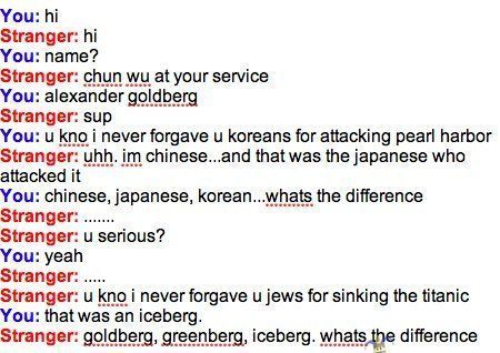 chines, chinese, coreano, discrimination, fail, fake, funny, japanese, japones, korean, lol, omegle, pwned, racism, racismo