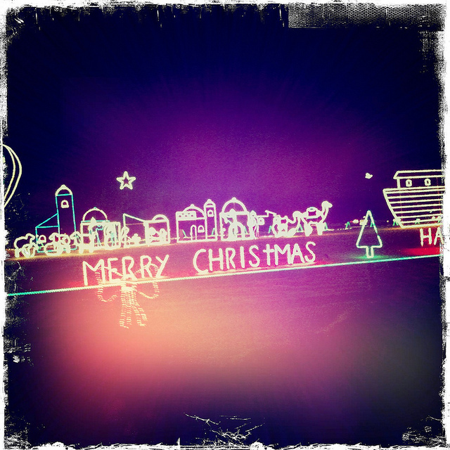 christmas, color, hipstamatic, holga, light