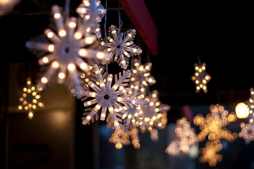 christmas, decorations, lights, snowflakes, winter