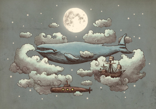 clouds, illustrated, moon, whale