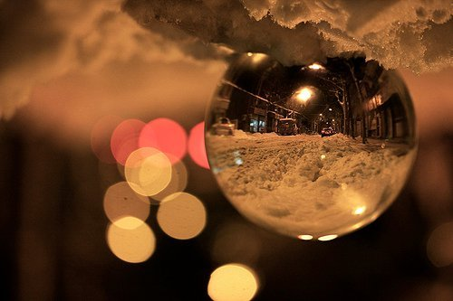 colorful, drop, night, snow, street