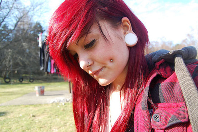 cute, girl, guages, piercings, streched ears