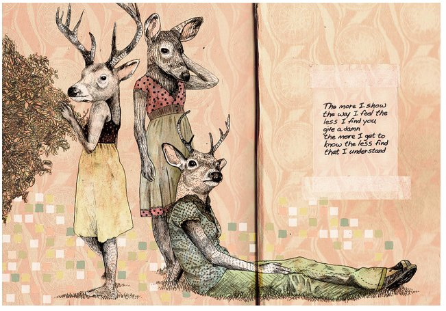 deer, drawing, illustration and text