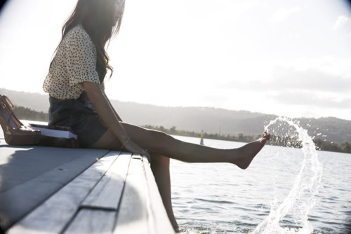dock, fashion, girl, jetty, seaside, splash, summer, sun