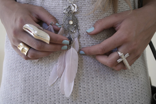 dream catcher, fashion, feathers, girl, nails, necklace, photography, rings