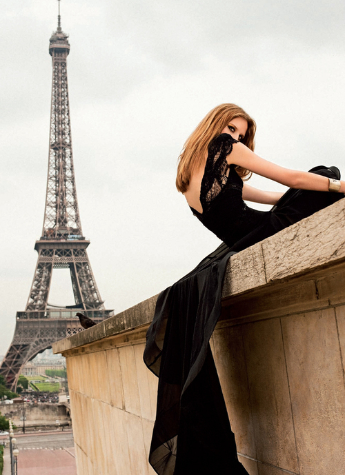 dress, eiffel tower, girl, gown, lace