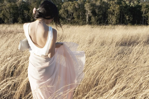 dress, fashion, field, girl, meadow