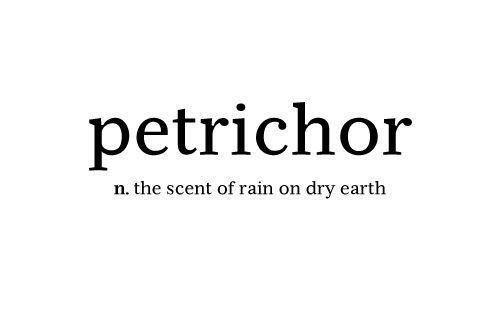 earth, petrichor, rain, scent of rain, text
