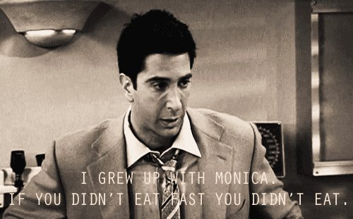 eat, fast, friends, funny, monica geller