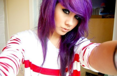 emo, girl, hair, piercing, purple, scene