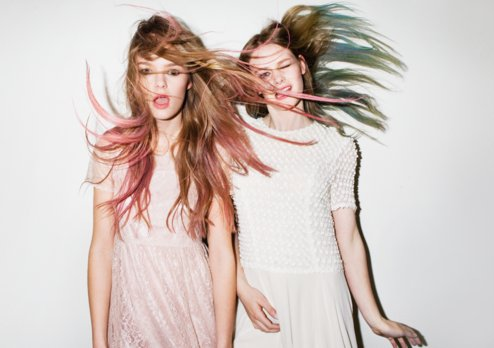 fashion, friends, friendship, girl, girls, pink, pink and white, style, two girls, white