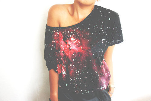 fashion, galaxy, nebula, stars, top