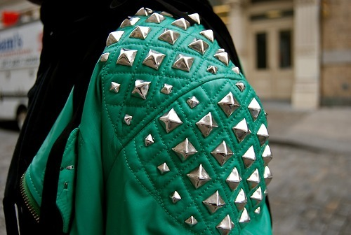 fashion, green, jacket, leather, studs