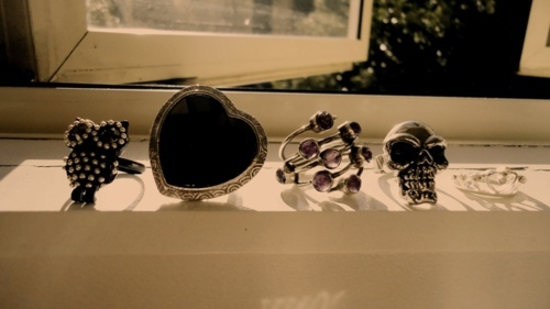 fashion, heart, jewellery, owl, photography, rings, skull, sunlight