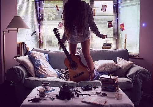 girl, guitar, music, shorts