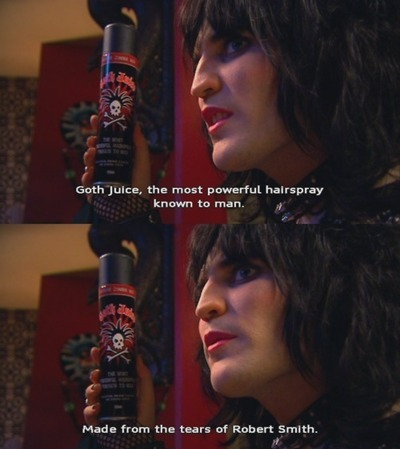 goth, gothic, hairspray, humor, humour, noel fielding, robert smith, the mighty boosh, vince noir