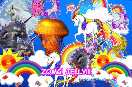 jellyfish, lol, omg, rainbow, unicorn