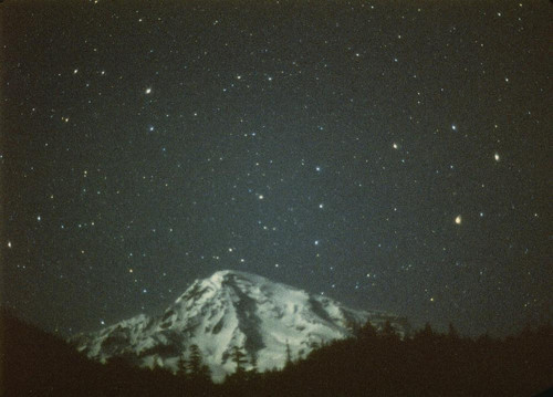 mountain, night, sky, star, starry