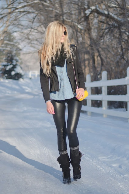 Cute Winter Outfit- Leather-Like Leggings u0026 Black Blazer - image #1557551 by lovely_jessy on ...