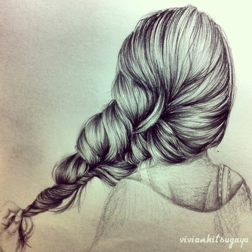 braid, drawing, hair, pencil