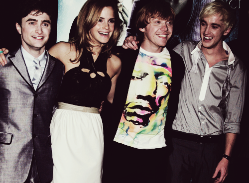 daniel radcliffe, draco malfoy, emma watson and harry potter