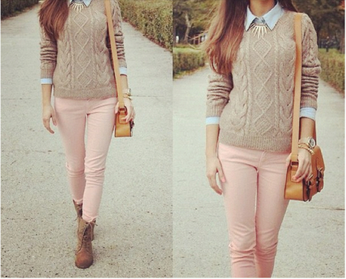 Autumn Cold Cute Fall Fashion Girly Jumper Outfit Pink Pretty Style Tumblr Vintage