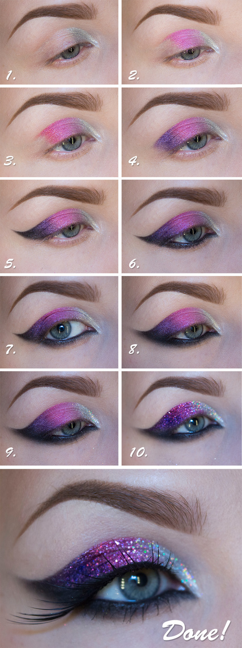 glitter makeup, glitter makeup ideas, glitter eye makeup and glitter makeup projects