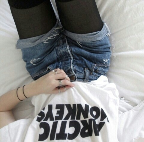 ... rock, shorts, style, t shirt, teen, tumblr girl, vintage, white