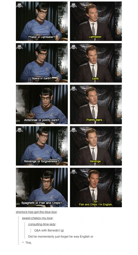 benedict cumberbatch, ears, earth, english, fish and chips, forget, forgive, funny, hobbit, lightsaber, lol, revenge, sherlock, spaghetti, star trek
