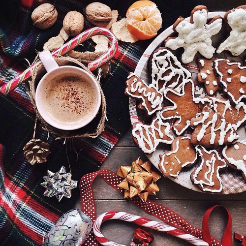 candy cane, christmas, gingerbread and hot chocolate