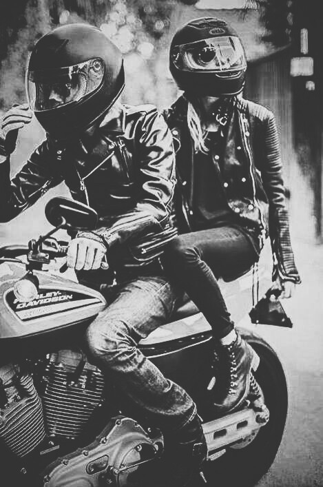 badass, beautiful, bikers, couple, grunge, harley davidson, motorcycle, for a moment, First Set on Favim.com