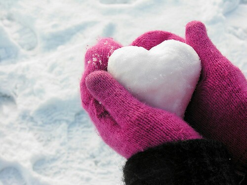 gloves, heart, pink and snow