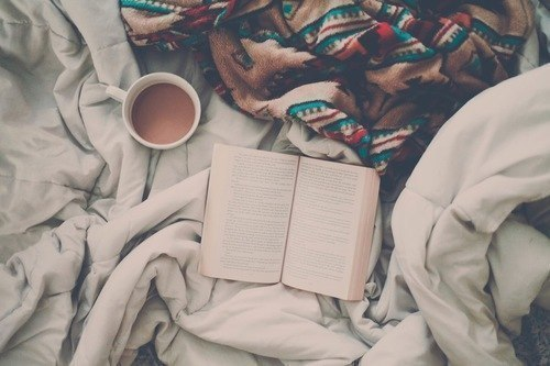 blanket, book, coffee, reading, winter