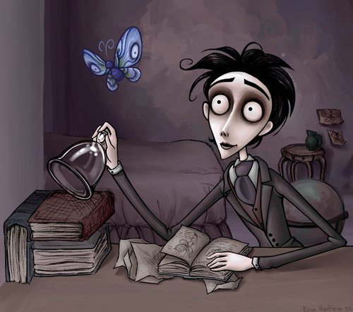 a noiva cadaver, art, butterfly, corpse bride, cute, drawing, fan art, filme, gothic, illustration, movie, tim burton