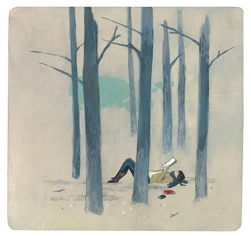 alone, book, forest, graphic, illustration, postcards from far away, reading