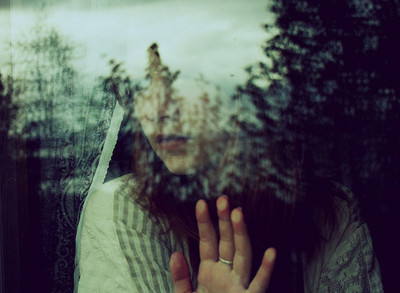 alone, dark, girl, hand, ring, trees, window
