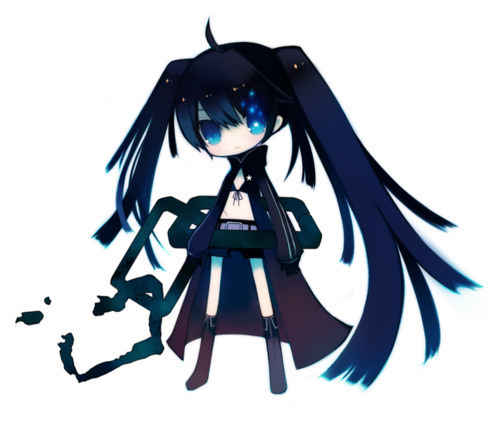anime, black rock shooter, chibi, cute