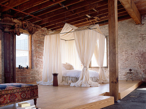 apartment, architecture, bed, bedroom, house, interior, room, stone, window, wood