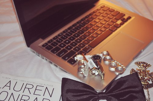 apple, bow, fashion, laptop, lauren conrad