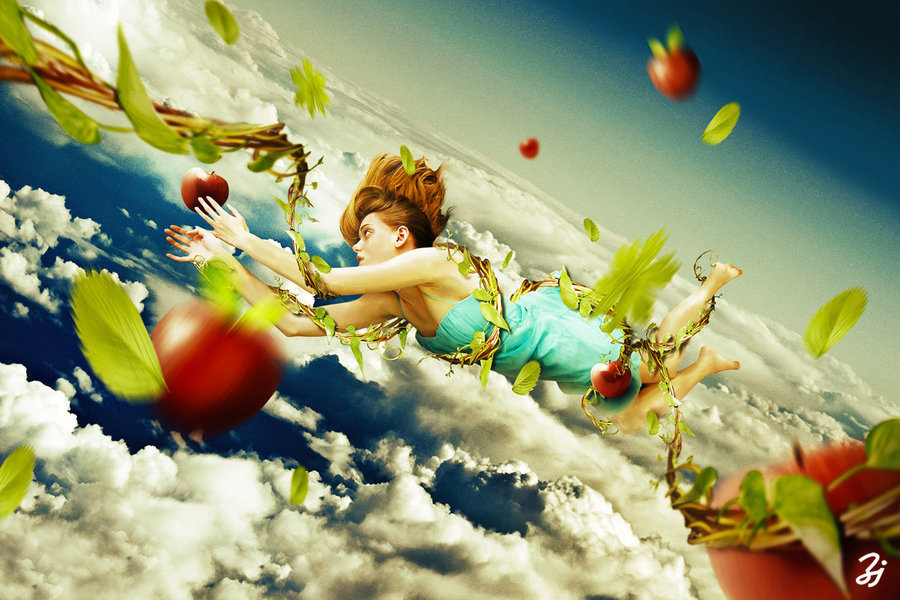 apple, clouds, cute, demeter, girl