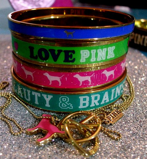 ashlynn, bangle, beauty, bracelets, cute, fashion, girly, gold, love pink, photography, pink, stephanie, victorias secret, vs pink