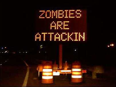 attack, funny, highway, joke, sign, zombies