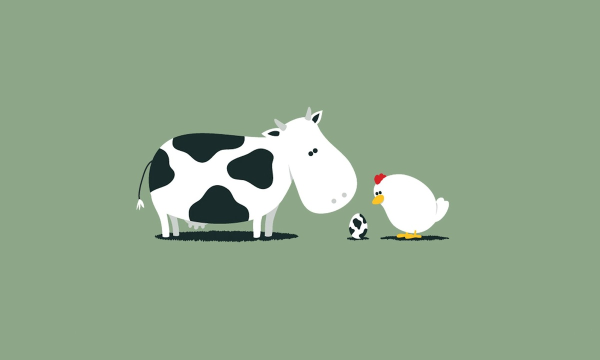 awesome, cartoon, chicken, couple, cow