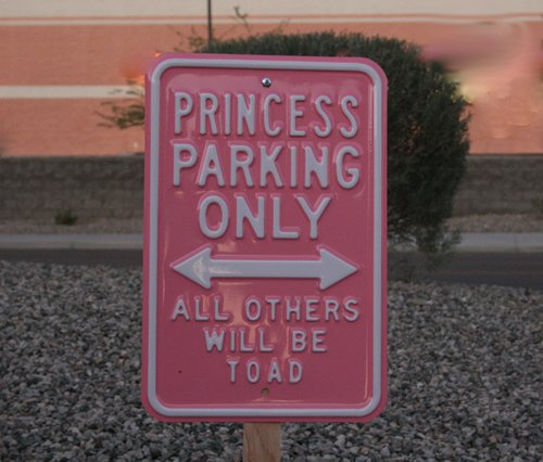 barbie pink, parking sign, princess