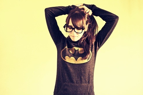 batman, cute, fashion, girl, glasses, love, photography, pretty, superhero, vintage, yellow