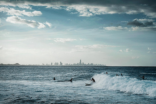 beach, city, surf, waves