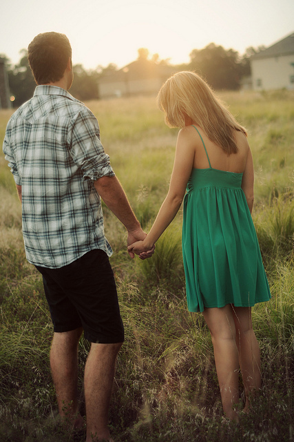 beautiful, boy, couple, dress, girl, green, landscape, love, nature, sunshine