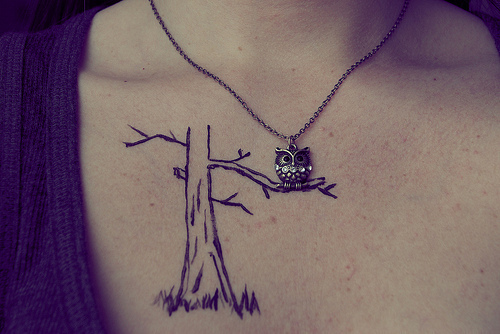 beautiful, collar bones, cute, eagle owl, fashion, girl, necklace, skin, style, sweet, tattoo