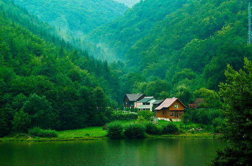 beautiful, field, forrest, green, house, lake, landscape, mountains, nature, sea