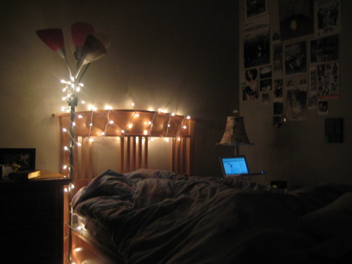 Bed Bedroom Christmas Lights Lights Image 185988 On